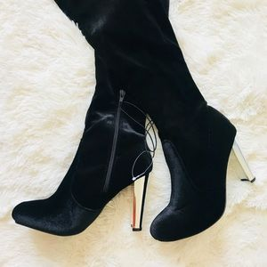Black suede over the knee silver heeled boots 7